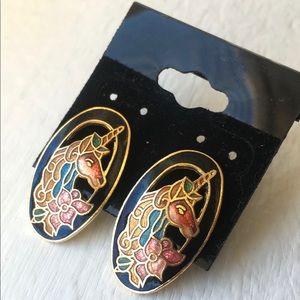 VINTAGE Cloisonne Unicorn Earrings Post